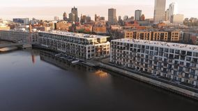 Milwaukee river in downtown, harbor districts of Milwaukee, Wisconsin, United States. Real estate, condos in downtown. Aerial view stock photos