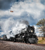Milwaukee Road #261 & Bi-Plane Stock Photography