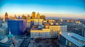 Milwaukee rootop winter stock image