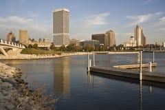 Milwaukee seen from marina Stock Photos