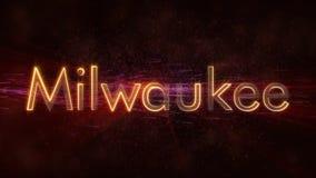 Milwaukee - Shiny looping city name text animation stock illustration