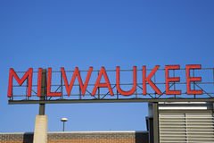 Milwaukee sign. Red Milwaukee sign in downtown Stock Image