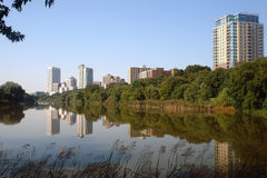 Milwaukee Skyline. A picture of Milwaukee Skyline from small lake Royalty Free Stock Photo