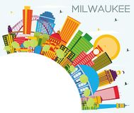 Milwaukee Skyline with Color Buildings, Blue Sky and Copy Space. Vector Illustration. Business Travel and Tourism Concept with Modern Buildings. Milwaukee USA vector illustration