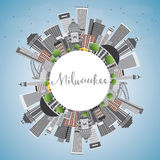 Milwaukee Skyline with Gray Buildings, Blue Sky and Copy Space. Vector Illustration. Business Travel and Tourism Concept with Modern Buildings. Image for stock illustration