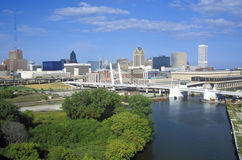 Milwaukee skyline with Menomonee River in foreground, WI stock photos