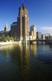 Milwaukee skyline with Menomonee River in foreground, WI Stock Images