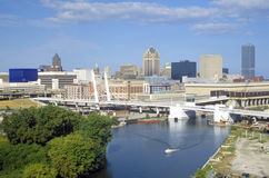 Milwaukee skyline with Menomonee River in foreground, WI Royalty Free Stock Photography