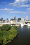 Milwaukee skyline with Menomonee River in foreground, WI Royalty Free Stock Photo
