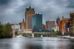 Milwaukee Skyline. Shot from the river Stock Image