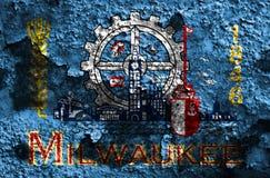 Milwaukee-Stadtrauchflagge, Staat Wisconsin, die Vereinigten Staaten von Amerika lizenzfreie abbildung