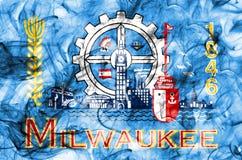 Milwaukee-Stadtrauchflagge, Staat Wisconsin, Vereinigte Staaten von Ame lizenzfreie abbildung