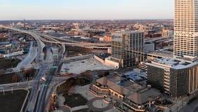 MILWAUKEE, U.S.A. - 26 APRILE 2018: Vista aerea della città americana a Fotografie Stock Libere da Diritti