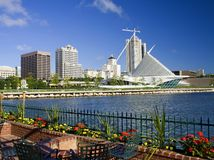 Milwaukee Waterfront Skyline. Milwaukee Wisconsin lake front in the summer. A modern city and the Lake Michigan waterfront is the pride of all. The walkway runs Royalty Free Stock Photography