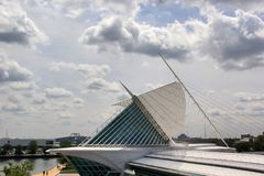 Milwaukee Art Museum, Milwaukee, Wisconsin, Midwest USA. MILWAUKEE, WISCONSIN - JUNE, 26, 2015: Cloudy sky over the Milwaukee Art Museum, an amazing royalty free stock image