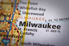 Milwaukee, Wisconsin on map. Closeup of Milwaukee, Wisconsin on a road map of the United States Royalty Free Stock Images