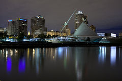 Milwaukee Wisconsin (night). Milwaukee Wisconsin waterfront  on Lake Michigan on an overcast night Stock Images