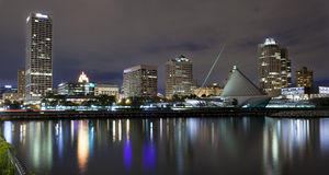 Milwaukee Wisconsin at night. Downtown  Milwaukee Wisconsin at night,  view from the lake Stock Photos
