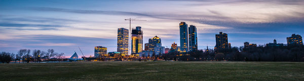 Milwaukee Wisconsin. Panoramic shot taken after sunset Royalty Free Stock Photos
