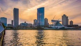Milwaukee, Wisconsin, USA downtown city skyline on Lake Michigan stock footage