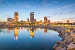 Milwaukee, Wisconsin, USA downtown city skyline on Lake Michigan stock photography