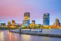 Milwaukee, Wisconsin, USA downtown city skyline on Lake Michigan. At twilight stock image