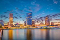 Milwaukee Wisconsin, USA horisont royaltyfri fotografi