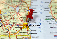 Milwaukee in Wisconsin, USA. Map with pin point of Milwaukee in Wisconsin, USA stock photography