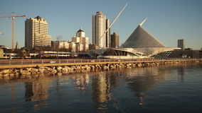 Milwaukee Wisconsin Waterfront Urban City Skyline Lake Michigan USA stock video footage