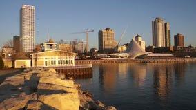 Milwaukee Wisconsin Waterfront Urban City Skyline Lake Michigan USA stock footage