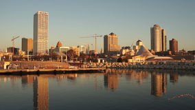 Milwaukee Wisconsin Waterfront Urban City Skyline Lake Michigan USA stock video