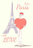Mim στο Παρίσι με το μεγάλο παιχνίδι καρδιών Απεικόνιση αποθεμάτων