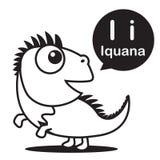Mim desenhos animados e alfabeto da iguana para crianças à aprendizagem e à cor ilustração stock