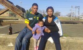 Mim e minha família no estação de caminhos-de-ferro Foto de Stock