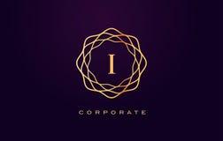 Mim logotipo luxuoso Vetor do projeto de letra do monograma ilustração stock