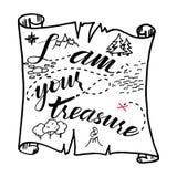 Mim ` m seu tesouro Mapa do tesouro Pode ser usado para cartazes, cartão ilustração do vetor