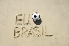 Mim mensagem da areia de Brasil do futebol Foto de Stock Royalty Free