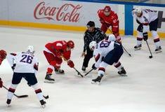 Mim Pavlyukov ( 61) e T Kopecky ( 82) na discrepância Fotografia de Stock Royalty Free