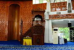 Mimbar of Negeri Sembilan State Mosque in Negeri Sembilan, Malaysia. SEREMBAN, MALAYSIA – FEBRUARY 14, 2014:  Negeri Sembilan's state mosque. It is located Royalty Free Stock Image