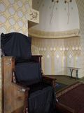 Mimbar - Pulpit in Mosque. Mimbar - pulpit - in Mosque near to the Mehrab or place of worship for the Muslim daily prayers stock photo