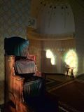 Mimbar - Pulpit in Mosque. Wooden mimbar - puplit - in Mosque from where religious scholar delivers sermons stock photography