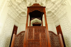 Mimbar van de Luchthaven van Sultan Ismail Airport Mosque - Senai- Royalty-vrije Stock Foto's