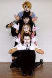 Mime. Four mime actors in action Stock Photo