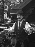 Mime acting in Montmartre. Mime in the streets of Montmartre, Paris stock photos