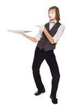 Mime actor with a empty dish Stock Photos