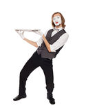 Mime actor with a empty dish Stock Photography