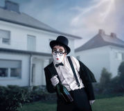 Mime actor performing a drunk man Stock Images