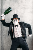 Mime actor performing a drunk man Royalty Free Stock Photography