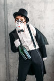 Mime actor performing a drunk man royalty free stock photo