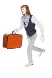 Mime actor running with a suitcase in his hand Stock Photos